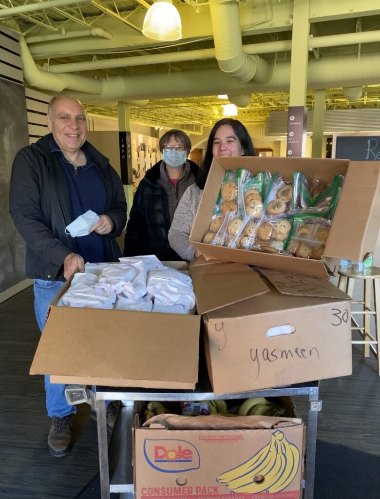 Boxes of food ready for distribution at local soup kitchen